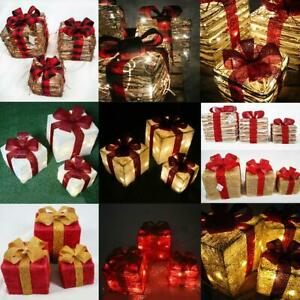 LED Gift Boxes Set Of 3 Parcel Battery Operated Christmas Party Home Decorations