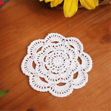 Handmade Round Crochet Cotton Table Cup Mats Placemats Doilies Coasters 16cm White