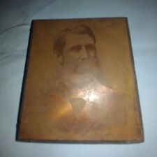 Early Printing Plate Copper Negative Portrait of Man Wood Block
