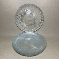 "Set of 5 Arcoroc SEABREEZE France 7 3/8"" Swirl Glass Luncheon Salad Plates"