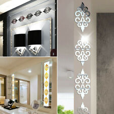 10* Modern 3D Mirror Style Acrylic Wall Sticker Decor Decal Home Background Diy