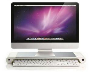 Aluminum Alloy Laptop iMac Monitor Stand Space Bar Dock Desk Riser 4 USB Ports