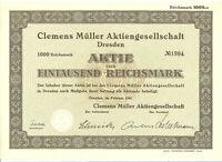 Clemens Müller AG  Dresden  Aktie 1.000 RM  1941