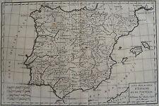 CARTE DES ROYAUMES D'ESPAGNE ET DE PORTUGAL, BONNE, ORIGINALE XVIII ème