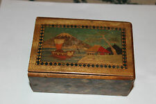 Antique Japan Wood Inlay Trinket Storage Box-Mt. Fuji Boat Village Water-Drawer