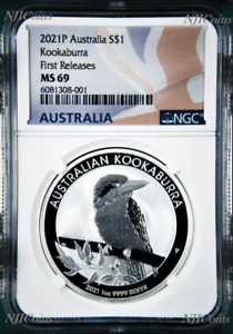 2021 P Australia .9999 Silver Kookaburra NGC MS 69 $1 1 oz Coin Flag FR Label