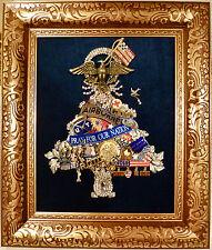 VTG JEWELRY MILITARY PATRIOTIC USA FRAMED ART TREE RHINESTONE MEDALS FLAGS BIRD