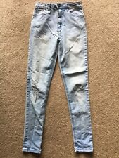 Forever 21 High Waist Jeans Junior Women 24 x 28 Light Wash SKINNY TIGHT STRETCH