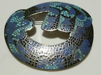 LARGE MARGOT DE TAXCO STERLING SILVER MEXICO MEXICAN ENAMEL BROOCH PIN