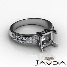 Pave Set Diamond Engagement Women Ring 18k White Gold Princess Semi Mount 0.3 Ct