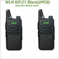 2pcs WLN KD-C1 Black 16 Channel Walkie Talkie Radio UHF 400-470 MHz