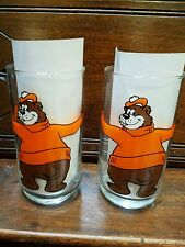 """TWO A & W Family Restaurant Bear Drinking Glasses Root Beer Advertising 5 3/4"""""""