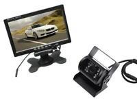 """Monitor 7"""" retromarcia auto retrocamera camper kit telecamera 18 led infrarossi"""