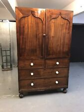 Victorian Antique Mahogany Linen Press Storage Cabinet Chest Of Drawers    M3619