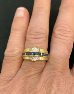 Vintage, Heavy, Solid 14ct Yellow Gold, Natural Blue Sapphire & Diamond Ring.