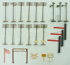 Vintage Flag Sign Light Post Power Lines Train 23 PC Accessories Lot