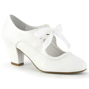 Pin Up Couture WIGGLE-32 Mary Jane Pump, White Faux Leather