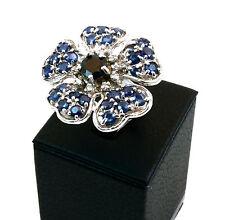 Anello a fiore con Zaffiri in argento 925 Made in Italy