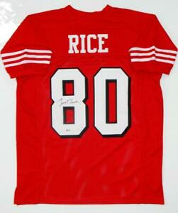 Jerry Rice Autographed Red with Black Pro Style Jersey- Beckett W Authenticated