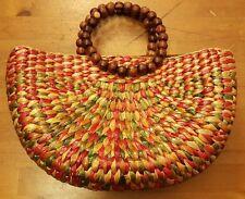 Straw, Multi-color, Hobo Handbag with Wood Bead Handles