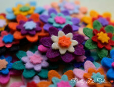Mini Layered Felt Flowers (10) Die Cut Floral Felt Shape Craft Embellishments