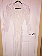 NATORI BRIDAL/WEDDING FANCY LONG LINGERIE ROBE COTTON/SATIN FLORAL- SIZE PETITE
