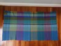 Vtg Curlew Weavers Welsh Wool Woven Blanket Throw Made in Wales Blue Green Aqua