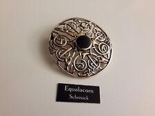 Große Keltische Knotenmuster Brosche Onyx Bronze Schmuck NEU