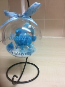 Baby Boy First Christmas Fluffy Baby In Hanging Bauble 10 Cm .No2 no stand