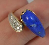 Stunning Lapis Lazuli & Diamond 14ct Gold Twist Ring d0463