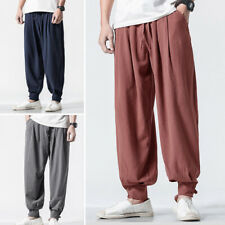 Men's Japanese Style Casual Loose Pants Elastic Waist Harem Baggy Long Trousers