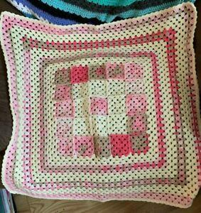 Handmade crochet baby blanket/car seat/pram/crib Neapolitan large granny square