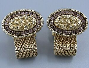 Mens Vintage Jewelry FACETED LAVENDER CRYSTAL OVAL MESH WRAP AROUND CUFFLINKS M2