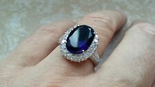 925 Silver Diana Spencer Blue Stone & CZ Ring - Sizes J-R available - Gift Boxed