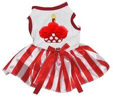 Rose Cupcake White Cotton Top Red Striped Tutu Pet Dog Puppy Dress