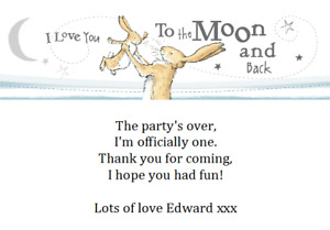 personalised paper card party birthday thank you notes GUESS HOW MUCH I LOVE YOU