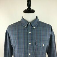 L.L. Bean Men's XXL Blue Plaids Checks Long Sleeve Soft Flannel Button Shirt