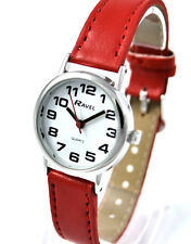 Ravel Ladies Super Bold Big Number Watch with Clear White Dial and Red Strap