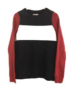 NWT Hollister Colorblock Sweatshirt Fleece Red Navy White Size S