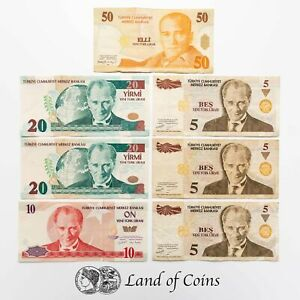 TURKEY: 115 Turkish Lira in Mixed Denomination Banknotes.