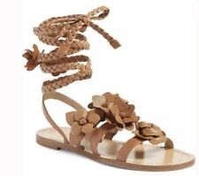 Brand New Tory Burch Blossom Gladiator Leather Sandals in Royal Tan (Size: 7)
