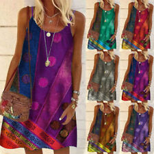 Summer Women Crew Neck Holiday Floral Sleeveless Slim Casual Loose Slip Dress