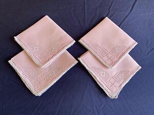 Vintage Set 4 Pink Linen Cypriot Lefkara Work Embroidered Afternoon Tea Napkins