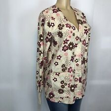 Peaches Floral Button Front Scrub UniformWomens Size M-L V Neck Long Sleeve Tops