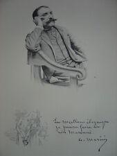 Gravure Portrait de Antonin MERCIE Mercié 1899