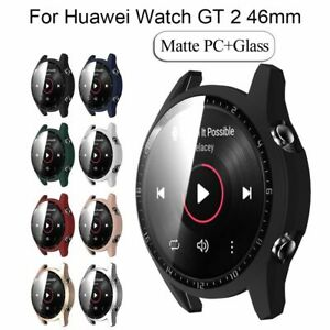 Matte Hard PC Case Protective Bumper Tempered Glass For HUAWEI Watch GT 2 46MM