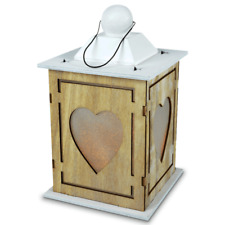 Rustic Wooden Decoration Heart Lantern Shabby Chic Decor LED Battery Powered