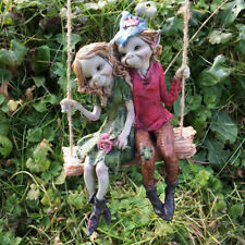 Pixie Couple Hanging Swing, Sculpture Magical Mystery High Quality Garden Decor