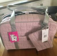 Luv Betsey Betsey Johnson Pink/Pewter Weekender LuggageW/Crossbody Wristlet