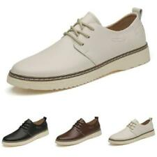Mens Business Leisure Faux Leather Shoes Round Toe Oxfords Lace up Breathable L